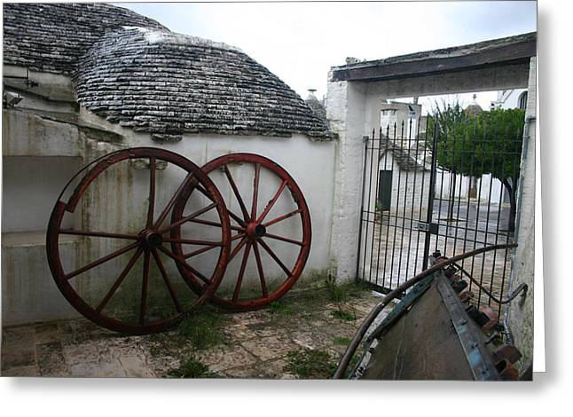 Old Wagon Wheels Greeting Card by Dennis Curry