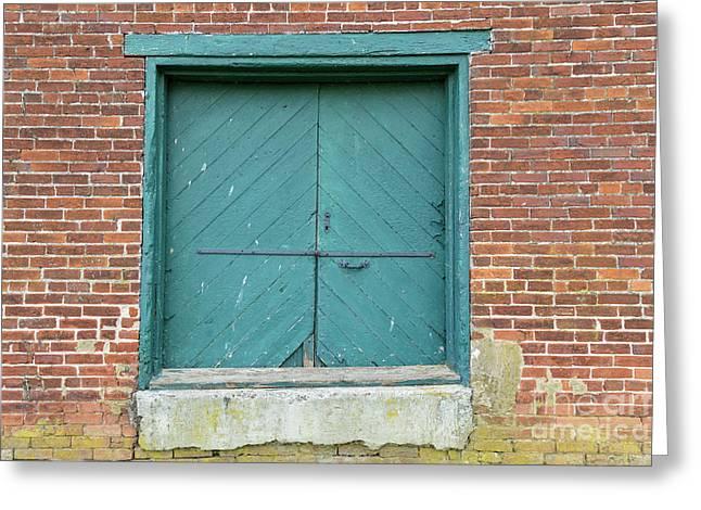 Old Warehouse Loading Door And Brick Wall Greeting Card
