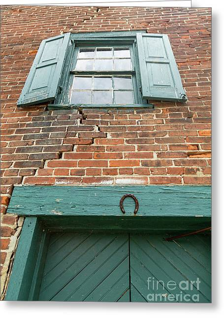Old Warehouse Window And Lucky Door Greeting Card