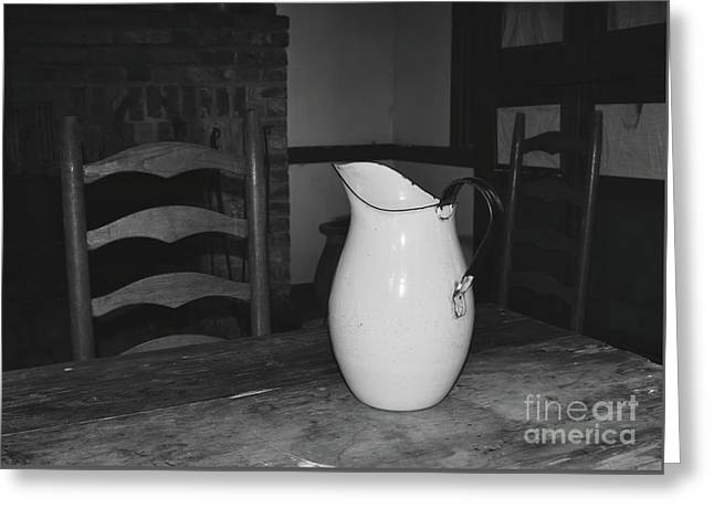 Old Water Pitcher - Black And White Greeting Card by Cindy Nearing