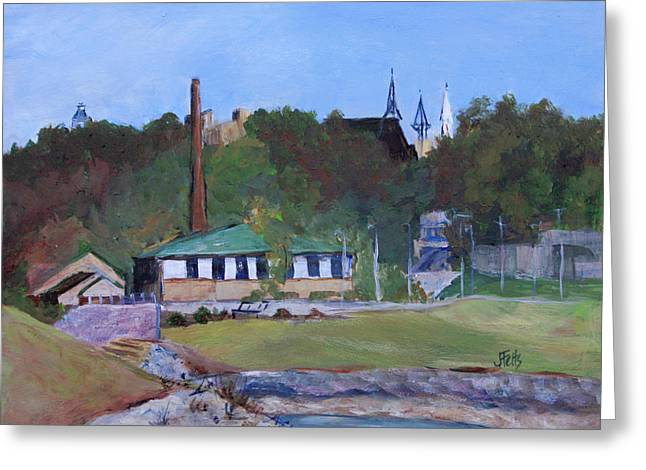 Old Waterworks Building Greeting Card by Janet Felts