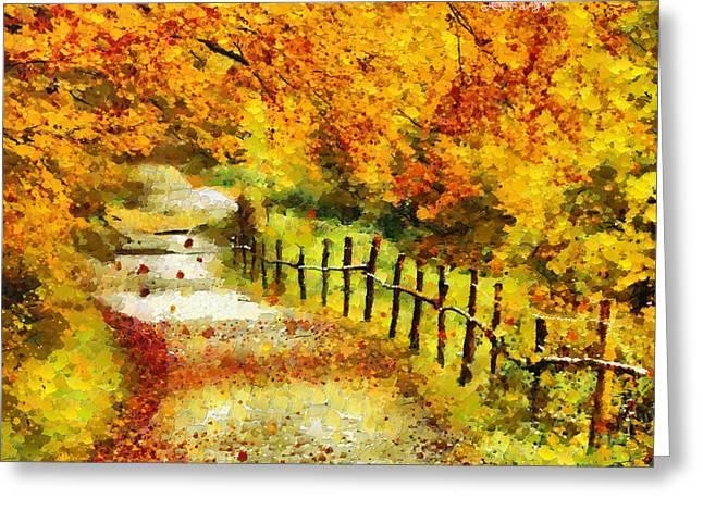 Old Way In Fall - Da Greeting Card