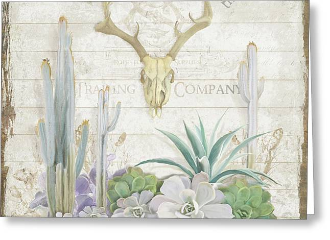 Greeting Card featuring the painting Old West Cactus Garden W Deer Skull N Succulents Over Wood by Audrey Jeanne Roberts