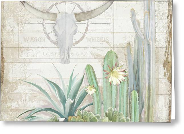 Greeting Card featuring the painting Old West Cactus Garden W Longhorn Cow Skull N Succulents Over Wood by Audrey Jeanne Roberts