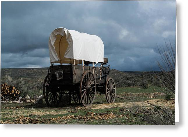 Old West Covered Chuckwagon In Approaching Storm Greeting Card by Georgia Evans