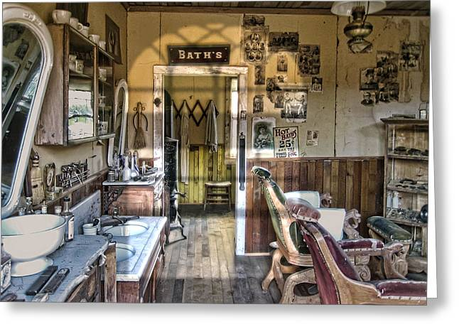 Old West Victorian Barber Shop Interior - Montana Territory Greeting Card by Daniel Hagerman