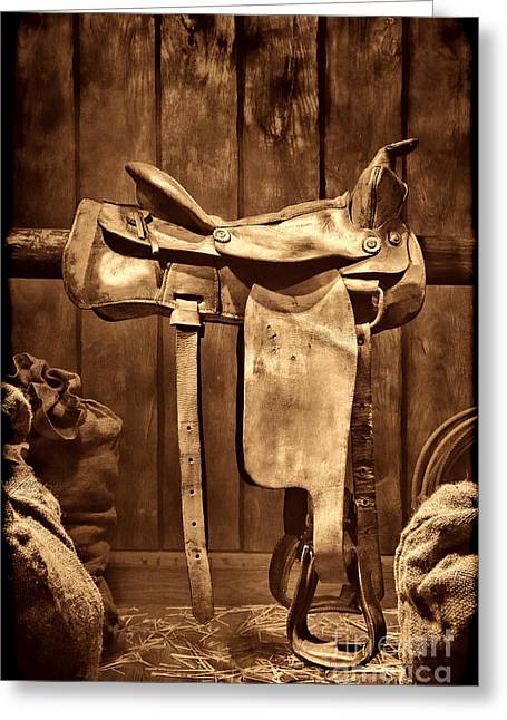 Old Western Saddle Greeting Card
