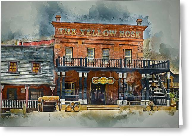 Old Western Saloon Bar Greeting Card