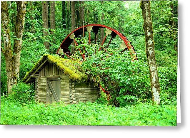 Old Wheel And Cabin Greeting Card