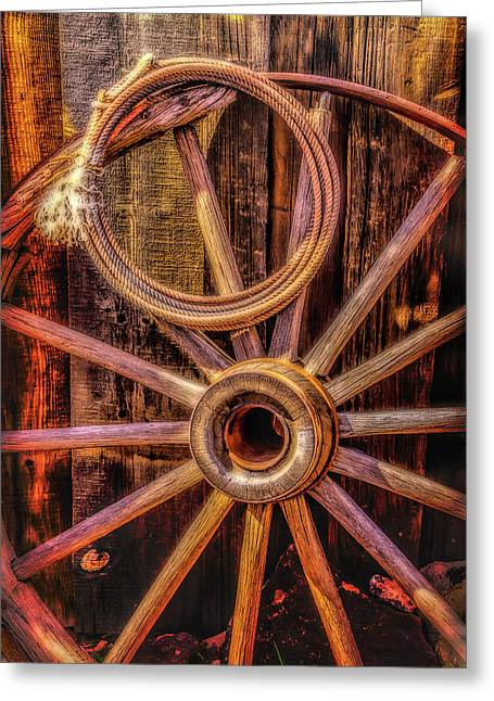 Old Wheel And Rope Greeting Card