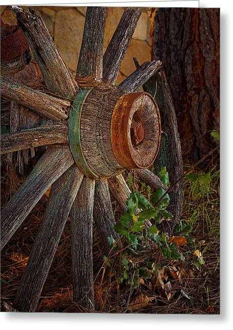 Old Wheel Greeting Card by Thomas Hall Photography