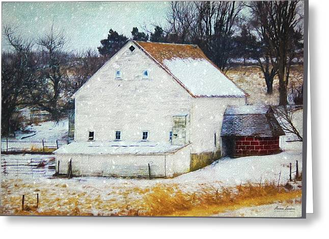 Old White Barn In Snow Greeting Card