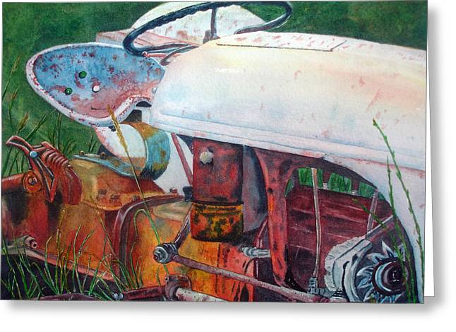 Old White Tractor Out To Pasture Greeting Card by Rosie Phillips