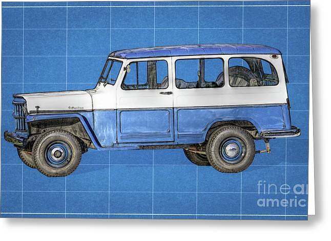 Old Willys Jeep Wagon Blueprint Greeting Card by Randy Steele