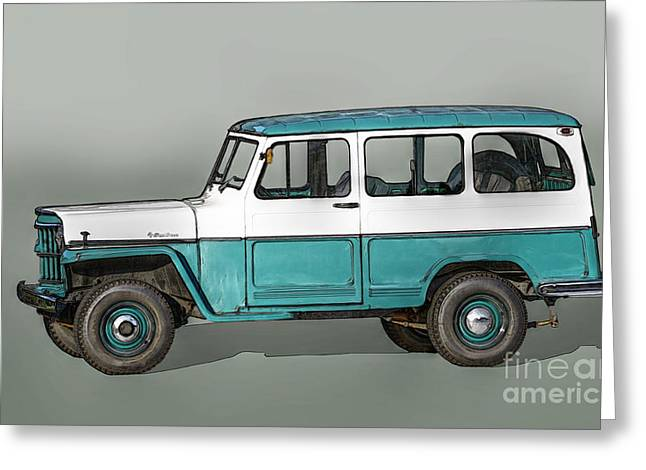 Old Willys Jeep Wagon Greeting Card