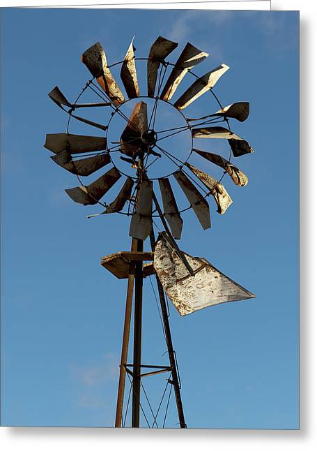Old Windmill Against Blue Sky Greeting Card