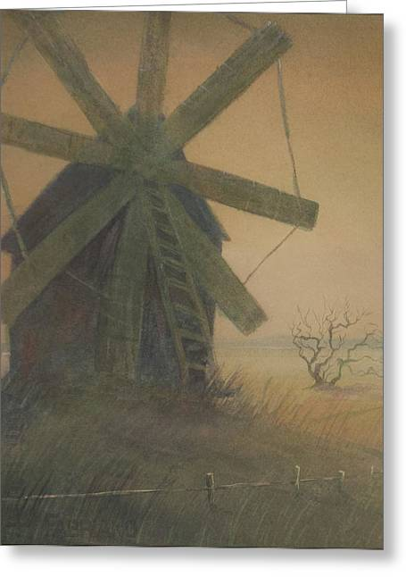 Old Windmill Greeting Card by Alla Parsons