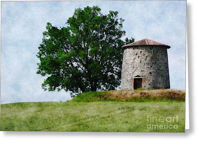Greeting Card featuring the photograph Old Windmill by Jean Bernard Roussilhe