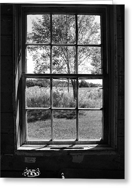 Old Window Bw Greeting Card