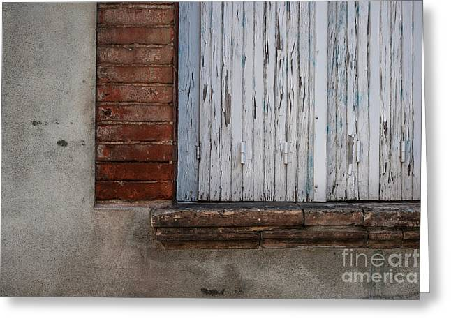 Old Window With Closed Shutters Greeting Card