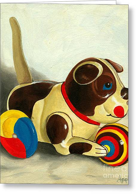 Old Windup Dog Toy Painting Greeting Card by Linda Apple