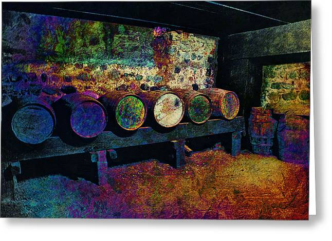Greeting Card featuring the digital art Old Wine Barrels by Glenn McCarthy Art and Photography