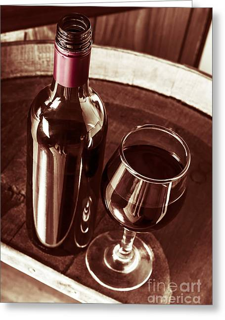 Old Wine Bottle And Glass In Rustic Wine Cellar Greeting Card
