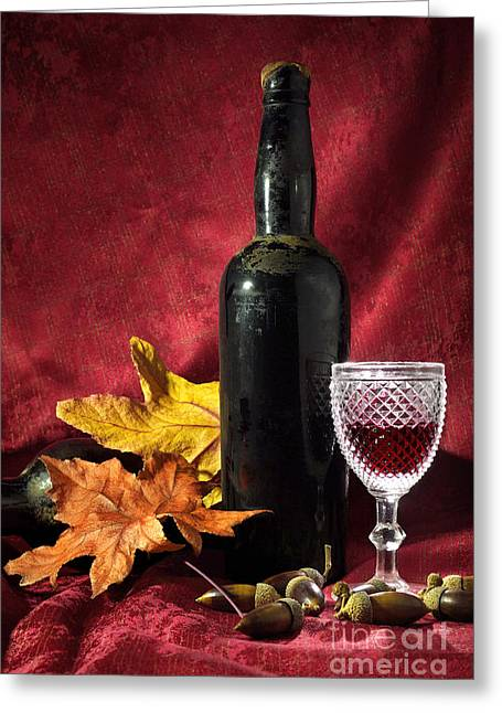 Old Wine Bottle Greeting Card by Carlos Caetano