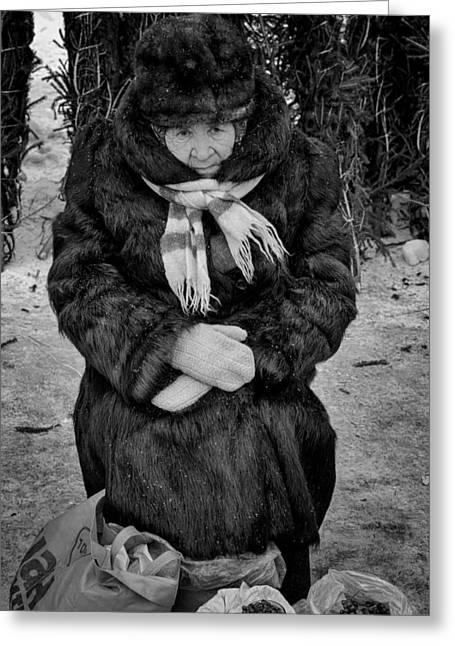 Old Woman In Fur Selling Berries In Winter Greeting Card by John Williams