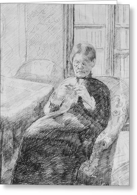 Old Woman Knitting Greeting Card by Mary Cassatt