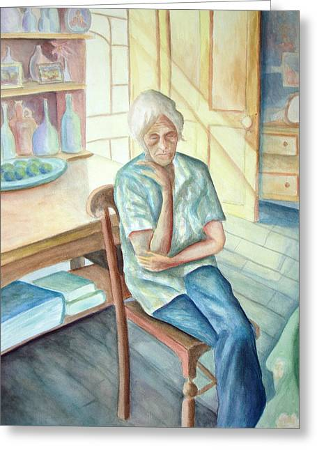 Old Woman Greeting Card by Nancy Mueller