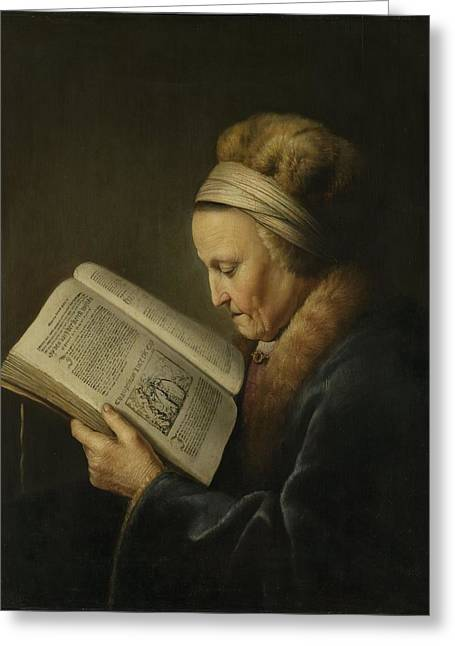 Old Woman Reading Greeting Card by Gerard Dou