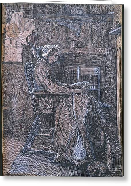 Old Woman Seated In A Chair Greeting Card by MotionAge Designs