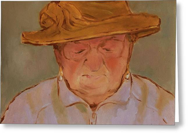 Old Woman With Yellow Hat Greeting Card