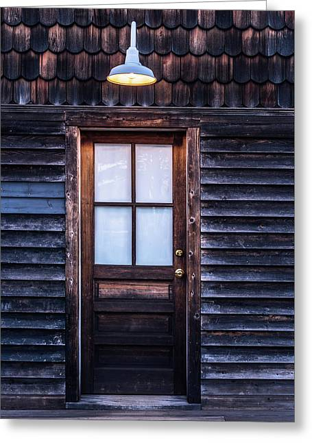 Greeting Card featuring the photograph Old Wood Door And Light by Terry DeLuco