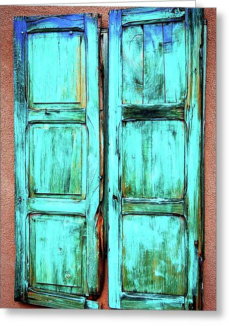 Old Wood Shutters, Santa Fe, New Mexico Greeting Card