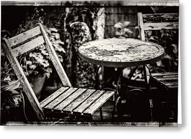Rustic Wood Table And Chair Set Greeting Card