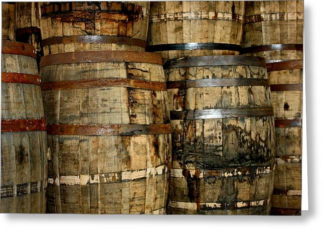 Old Wood Whiskey Barrels Greeting Card