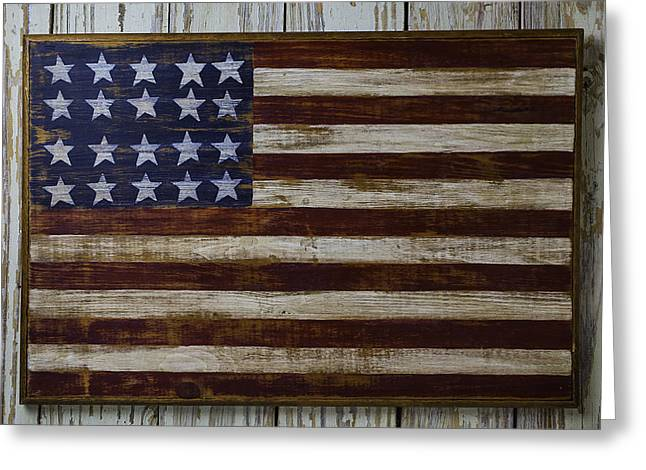 Old Wooden American Flag Greeting Card by Garry Gay