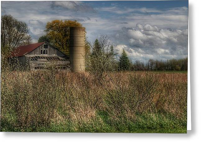 0034 - Old Wooden Barn And Silo Greeting Card