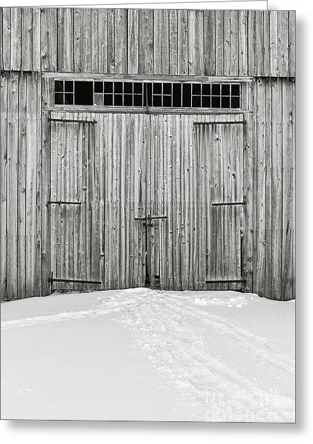Old Wooden Barn Doors In The Snow Greeting Card by Edward Fielding