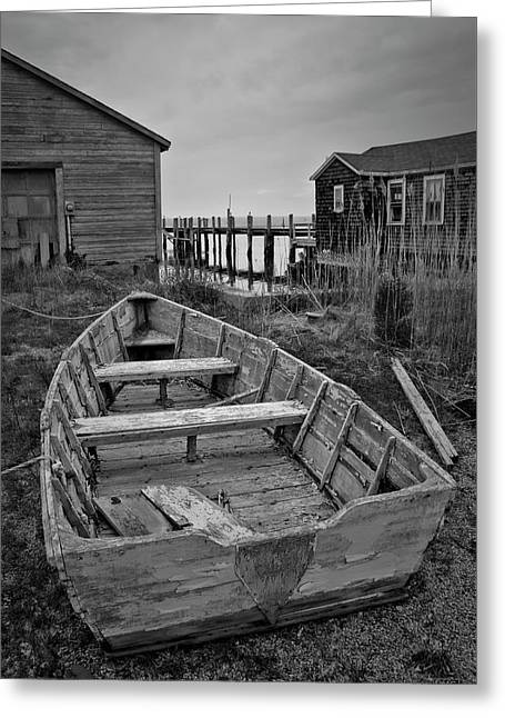 Old Wooden Boat Bw Greeting Card