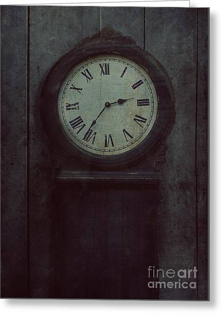 Old Wooden Clock Greeting Card