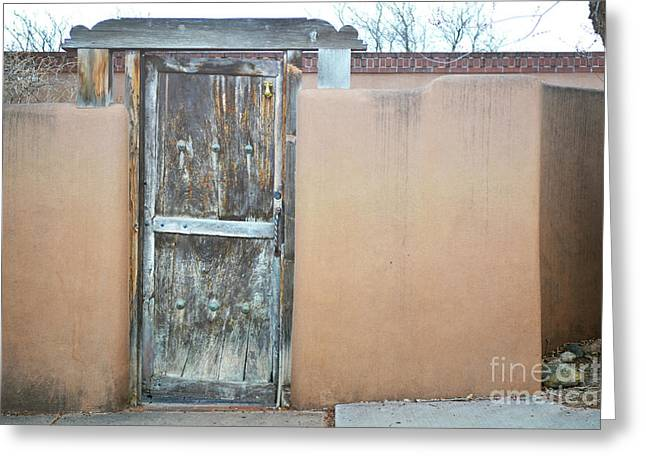 Greeting Card featuring the photograph Old Wooden Door Adobe by Andrea Hazel Ihlefeld