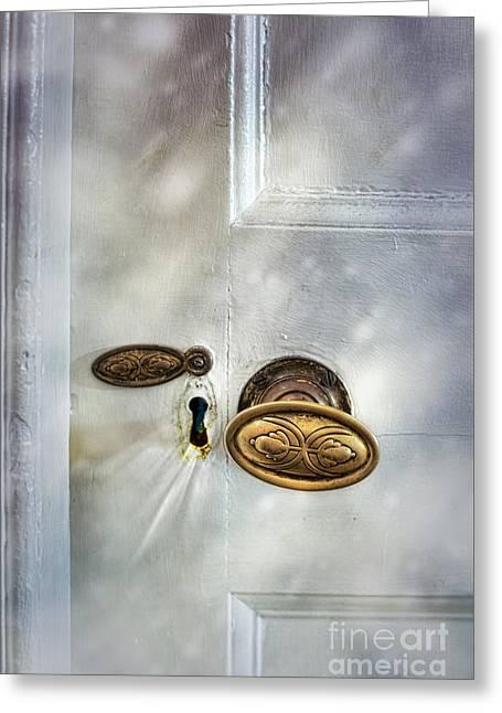 Old Wooden Door Greeting Card by Amanda Elwell