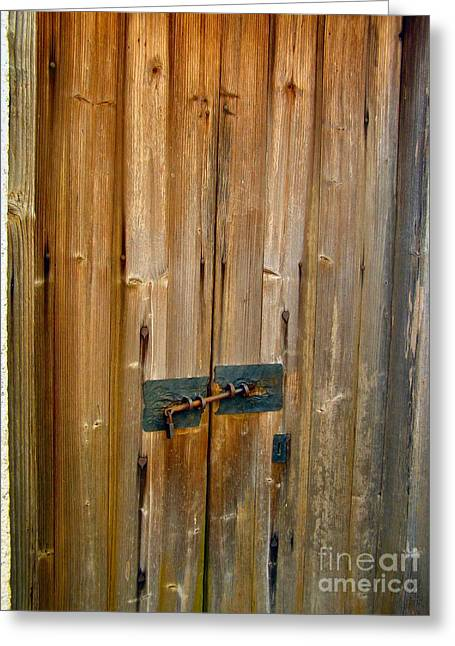 Old Wooden Door Chinese Village Hong Kong Two Greeting Card by Kathy Daxon