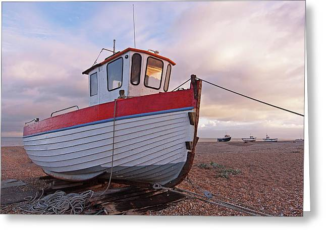 Old Wooden Fishing Boat Home By Sunset Greeting Card