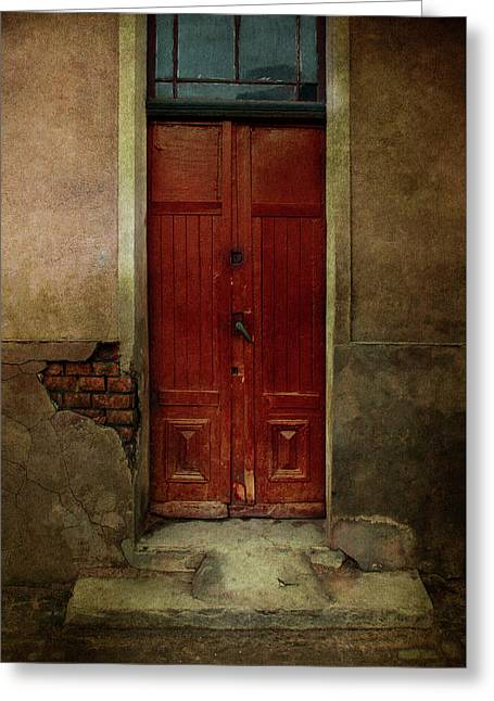Old Wooden Gate Painted In Red  Greeting Card by Jaroslaw Blaminsky