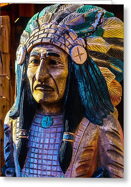 Old Wooden Indian Greeting Card