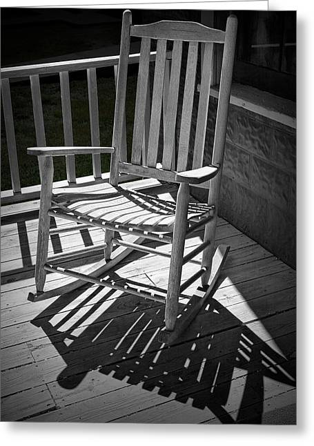 Old Wooden Rocking Chair And Shadows Greeting Card